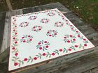 1890's Antique Whig Rose Applique Quilt Red Green and White AS IS!