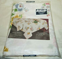 """Vintage Chinese Embroidered Applique Floral Flowers Tablecloth New 60""""x86"""""""