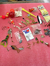 F8 Lot of misc fishing tackle lures bobbers brass swivels sinkers Aqua Spoon