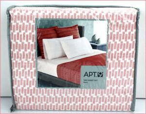 Apt 9 RIPPLE Sheet Set -100% Cotton Wave Pattern White Orange Coral TWIN 🌟NEW🌟