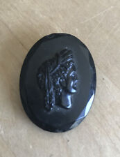 cameo black glass pin brooch Antique Victorian Cameo Mourning Czechoslovakia