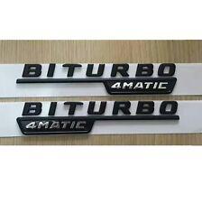 1 pair Flat Black BITURBO 4MATIC Letters Sides Emblem Badge for Mercedes Benz