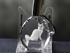 Turkish Van Cat, Cat Crystal Round Keyring, High Quality, Crystal Animals Ca