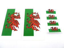 6 Wales Flag Window Stickers, Welsh Dragon Labels, 'Inside Fix Outside View'