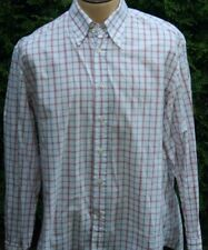 Men's Canali Sportwear White Shirt with Pink & Black Stripes Sz XL Made in Italy