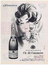 PUBLICITE ADVERTISING 104 1960 Champagne CH. de CAZANOVE château  d'Avize