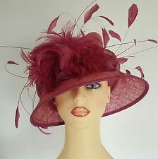 Ladies Wedding Hat Races Mother Bride Ascot Raspberry Pink Feathers Riona Stone
