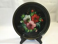 Vintage Round Toleware Tray Russian Russia Flowers Black Gold Handpainted Signed