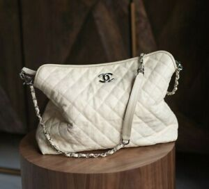 VERIFIED Authentic CHANEL Ivory Quilted Caviar Leather Bag