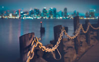 """SHORE CHAINS CITY SKYLINE A3 CANVAS GICLEE ART PRINT POSTER 16.5"""" x 11.1"""""""