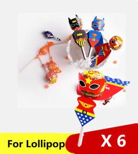 Lollipop Sticker Wander woman Superhero Kids Party Bag filler Gift Loot Birthday