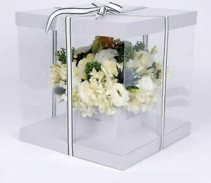 Clear Square Pvc Transparent Hand Flower Box Packaging Bouquet Gift Boxes For In
