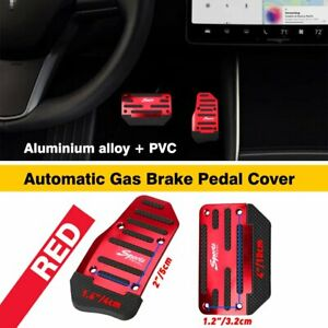 2pcs Red Non Slip Automatic Gas Brake Foot Pedal Pad Cover Car Accessories EXC