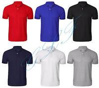 NEUF HOMMES Uni Coton Polyester Piqué Polo col côtelé T- Shirt Décontracté PK