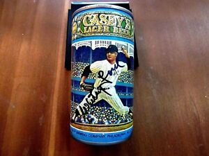 WHITEY FORD HOF YANKEES 1980 VINTAGE SIGNED AUTO CASEY'S LAGER BEER CAN JSA