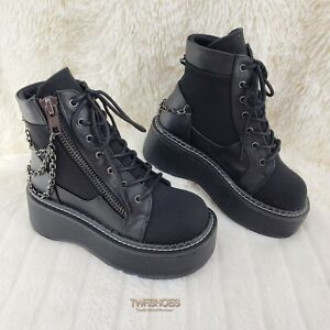 "Demonia Emily 114 Black Canvas 2"" Platform Punk Goth Ankle Boots NY RESTOCKED"