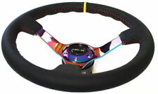 NRG Deep Dish Steering Wheel 350mm Leather Red Stitch & Neochrome /Yellow Stripe