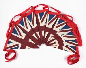 Vintage British Union Jack Textile Flag Cloth Fabric Bunting Retro Banner UK 10M