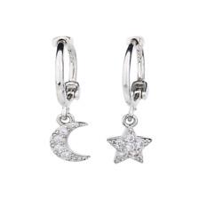 925 Sterling Silver Dangle Star Moon CZ Hoop Huggie Stud Earrings Gift Box PE38