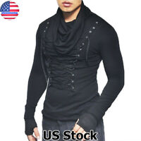 Mens Punk Rave Gothic Black Top Dieselpunk Punk Dystopian Lace Up Blouse T-Shirt