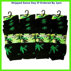3 Pairs Mens Weed Leaf Print Socks Cannabis Ganja Marijuana Adults Fashion 6-11