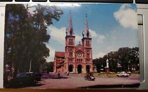 Saigon Catholic Cathedral Vintage Postcard color photo Mike Roberts