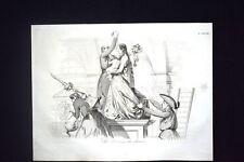 Incisione d'allegoria e satira Sacerdoti saccheggiano chiese Don Pirlone 1851