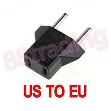 2 x Adapter to Convert US Flat 2-Pins Connector to Round EU AC Wall Socket Plug