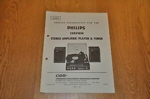 Philips 13RF833 Stereo Amplifier Record Player & Tuner Workshop Service Manual