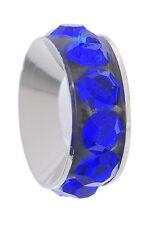 Blue Rhinestone Spacer September Birthstone Bead for European Charm Bracelets