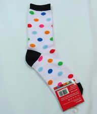 Womens White multi-colored Polka Dot Crew Socks Black Cuff Heel Toe Size 9-11
