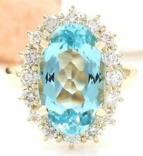 6.92CTW NATURAL AQUAMARINE AND DIAMOND RING IN 14K YELLOW GOLD