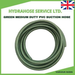 Green Suction Hose PVC Reinforced Medium Duty Various sizes with Rapid Shipping
