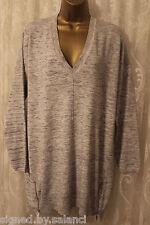 Karen Millen V Neck Zip Side Knit Dip Hem Jumper Tunic Long Sleeve Grey Top L 14