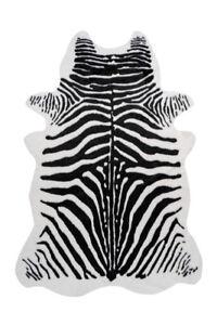 Teppich Fell Tierfell Optik Zebra Tier Wohnzimmer Loft Schwarz Weiß 160x230cm