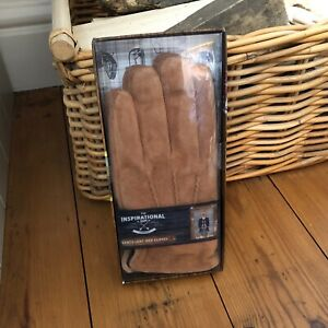 New Mens The Inspirational Gift Company Gloves Tan Brown Suede Leather L - XL