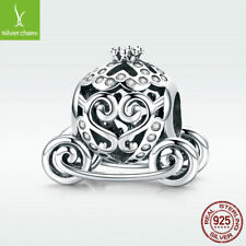 S925 Sterling Silver Charm Bead Pumpkin Carriage with CZ For Princess Necklace