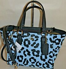 COACH 34334 OCELOT PRINT LEATHER SATCHEL PALE BLUE NEW WITH TAG