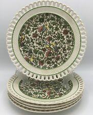 Royal Doulton Persian Set of 5 Luncheon Plates D3550 Pierced Rim Parrots Antique