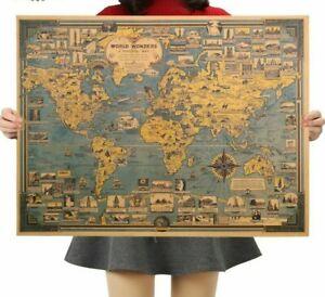 World Map Kraft Paper Poster Blue Vintage Great Building Wall Sticker Art Poster