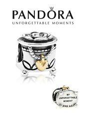 Genuine PANDORA 925 sterling silver & 14 ct gold JEWELLERY BOX charm bead
