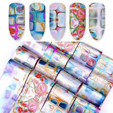 16Pcs Holographic Nail Foil Laser Marble Shell DIY Nail Art Transfer Sticker