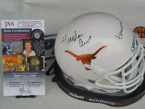 Hudson Card signed Texas Longhorns mini helmet w/ Hook Em JSA COA