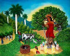 Original Art Arte Oil Painting Santeria Cuba Cuban Artist Osmar Pena Clavel