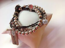 "NWT Uno de 50 Silver Plated Beads/Leather/Charms Bracelet 8"" ""What a Mess"" $145"