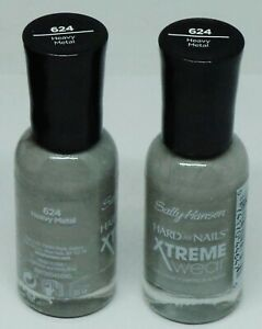 2 Sally Hansen Hard As Nails Xtreme Wear Nail Polish HEAVY METAL #624 Sealed