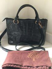 Vintage Mulberry glossy black Congo leather Adena + crossbody strap + dust bag