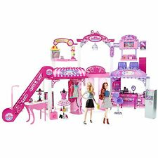 Hot Barbie Malibu Ave 2-Story Mall with 2 Dolls - (50+ Pieces, 2' Tall, 4' Wide)