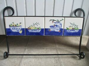 Rare Shard Pottery Dover Maine Sailboat Tile Hand Forged Rod Iron Towel Rack
