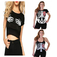 WOMEN Skeleton Hands/Heart Printed Top Short Sleeves Halloween Black Fancy DRESS